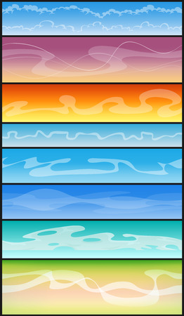 Illustration of a set of seamless cloudscape on sky background, for sky landscape and scenics and game ui