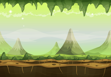 Illustration of a cartoon seamless funny sci-fi alien planet landscape background, with mountains range layers for parallax, stalactite, stars and planets for ui game Illustration
