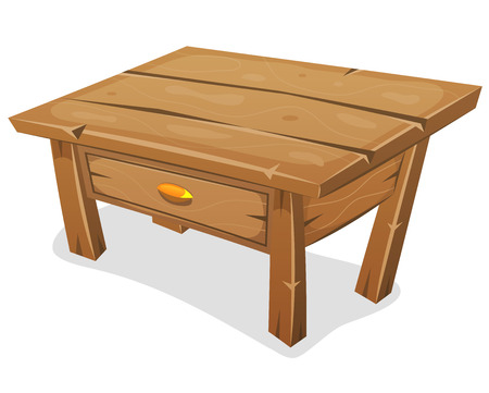 old desk: Illustration of a cartoon funny wooden nightstand for bedroom, with drawer and isolated on white background