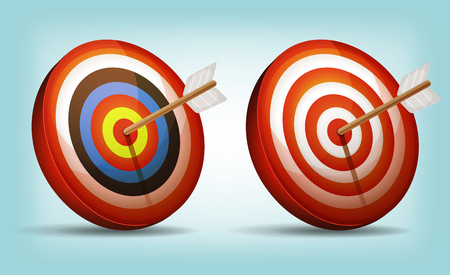 hitting: Illustration of a set of cartoon red and white dart targets with arrow
