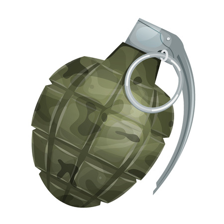 Illustration of a military bomb, with metal pin and camo texture, isolated on white background Illustration