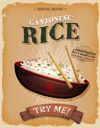Illustration d'un plat de riz chinois de bande dessinée, dans vintage conception et grunge poster texturé, pour la collation de restauration rapide et menu à emporter