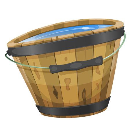 seau d eau: Illustration d'un seau en bois de bande dessinée avec l'intérieur de l'eau, la poignée et le cerclage de fer