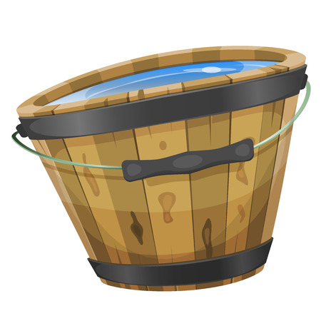 rural wooden bucket: Illustration of a cartoon wooden bucket with water inside, handle and iron strapping Illustration