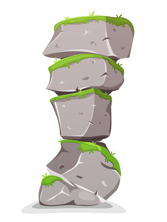 flint: Illustration of a cartoon natural tower with big rocky boulders, with grass for landscape and nature scenics