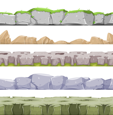 hollow: Illustration of a set of seamless mountains range with patterns of rock, stones and hand made mountains relief for game user interface