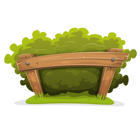 hedge: Illustration of a cartoon hedge with wooden barrier