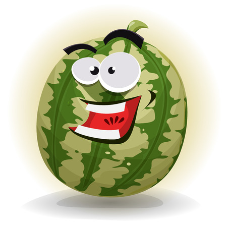 sugary: Illustration of an appetizing cartoon watermelon character, happy and smiling