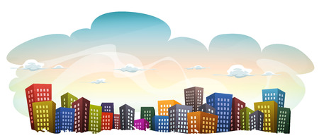 Illustration of a cartoon urban city landscape with fancy buildings and skyscrapers, on sky background with cloudscape
