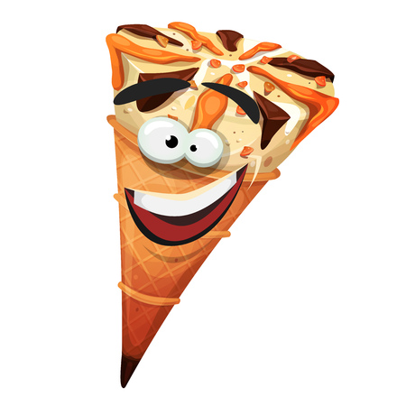 Illustration of a cartoon icecream cone character, happy and smiling Illustration