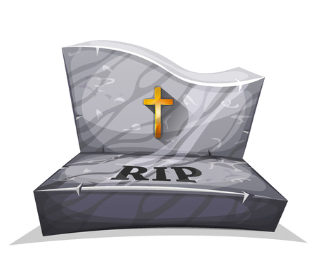 rip: Illustration of a cartoon marble tombstone, with gold christian cross and rest in peace inscription