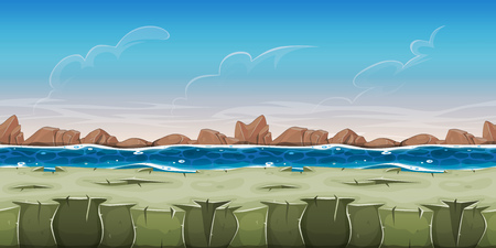 grounds: Illustration of a cartoon seamless ocean landscape background, with rocky ground, water and little mountains, for game ui scenics