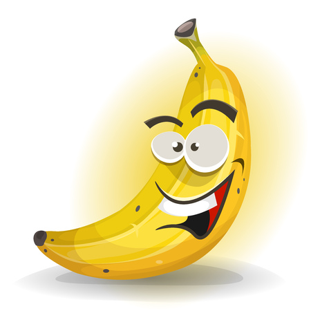 fruit stem: Illustration of a cartoon appetizing banana character, happy and smiling