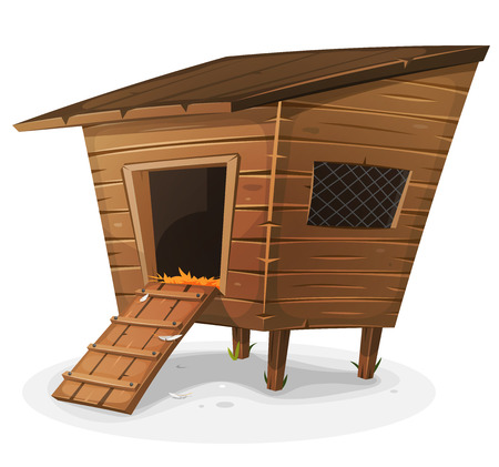 coop: Illustration of a cartoon wooden farm chicken coop, with entrance and little window with grid