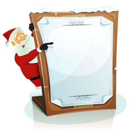 hiding: Illustration of a cartoon happy santa claus character hiding and pointing behind wood tablet with paper sign, for merry christmas holidays, wishes and children gift list Illustration