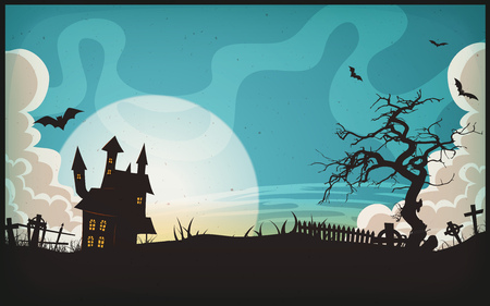 Illustration of a cartoon spooky landscape background, for halloween holidays, with christian tombstones inside graveyard, fog, full moon and bats
