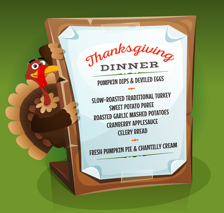 holding sign: Illustration of a cartoon turkey character holding wood sign with dinner menu and recipe example for traditional thanksgiving holidays, on green background Illustration