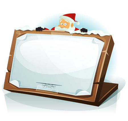 christmas list: Illustration of a cartoon happy santa claus character hiding behind wood tablet with paper sign, for merry christmas holidays, wishes and children gift list