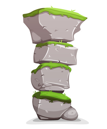 Illustration of a cartoon stack of big rocky boulders, with grass for landscape and nature scenics Vektorové ilustrace