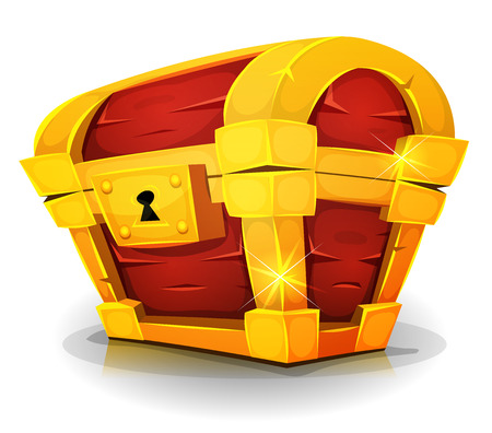 coffer: Illustration of a cartoon closed treasure chest, made with gold and wood, with lock and bright effect, for award icons inside game ui