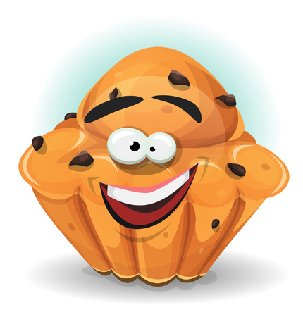 Illustration of a cartoon funny french cake character with chocolate nuggets