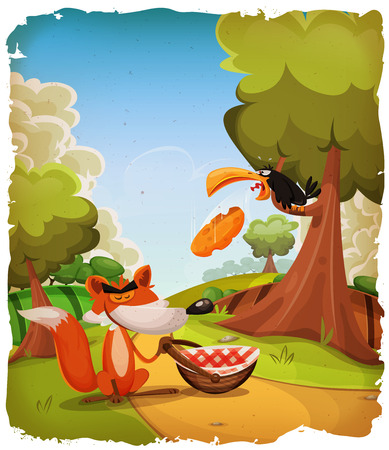 Illustration of a cartoon scene of the crow and the fox tale, inside spring country landscape