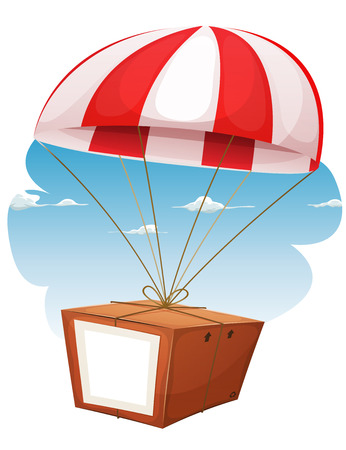 Illustration of a cartoon parachute holding and delivering cardboard box by air shipping, with empty blank sign and sky background Illustration