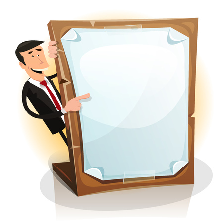 man holding a blank sign: Illustration of A happy cartoon white businessman hiding and holding promotional offer on a paperboard
