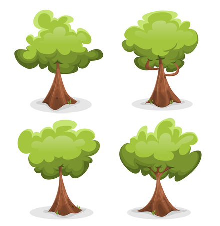 Illustration of a set of cartoon spring or summer forest trees, with funny foliage and big trunks, for custom green landscapes and ui games