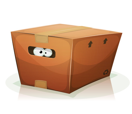 Illustration of a funny cartoon creature or animal's character eyes, confined and looking from behind the handle of a cardboard box Illustration
