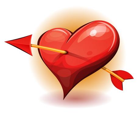 pierced: Illustration of a cartoon big heart icon, pierced by the arrow of cupidon Illustration