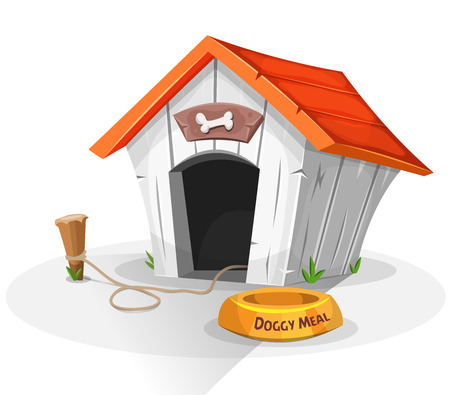 Illustration of a cartoon funny doghouse with dish for dog meal, and stake with leash attached