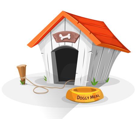 Ilustración de una caseta de perro de dibujos animados divertido con el plato de comida de perro, y la estaca con correa atada Ilustración de vector