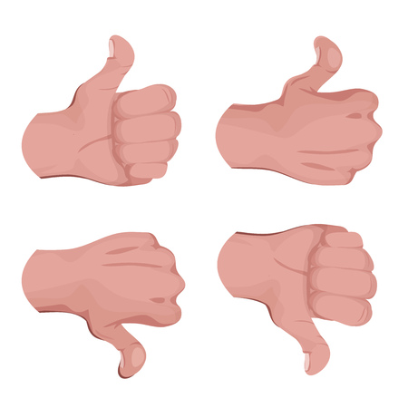 Illustration of a set of comic styled human hands, doing like and unlike signs, thumbs up and okay symbol Illustration