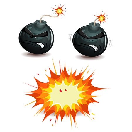 Illustration of a cartoon black bomb icon character exploding with burning wick, isolated on white Illustration