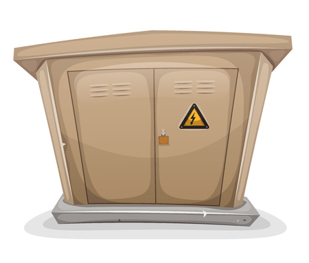 lock symbol: Illustration of a cartoon street electrical cabinet, with warning sign