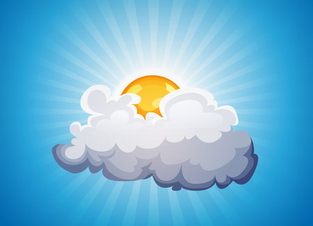 clouds: Illustration of a cartoon sky background with sun shining behind a cloud Illustration