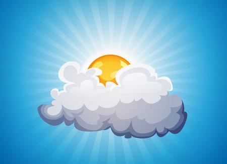 nubes caricatura: Ilustración de un fondo de cielo dibujos animados con el sol que brilla detrás de una nube