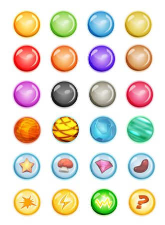 Illustration of a cartoon set of multicolored balls and bubbles for game ui, including boosters with magic powers Illustration