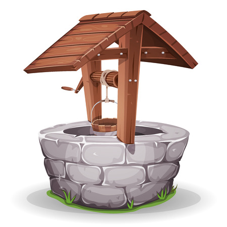 Ilustracja kreskówki kamienia i drewnianych studni, z liny i wiadrem
