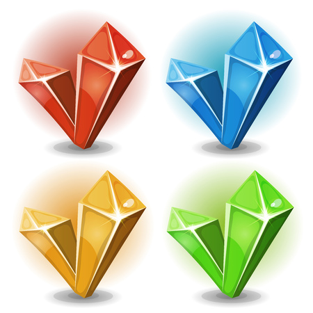 Illustration of a set of glossy and bright cartoon diamond stones, diamonds, minerals and jewels icons, also suitable for game user interface