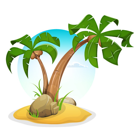 Illustration of cartoon palm trees, on tropical island beach, with summer sky background Illustration