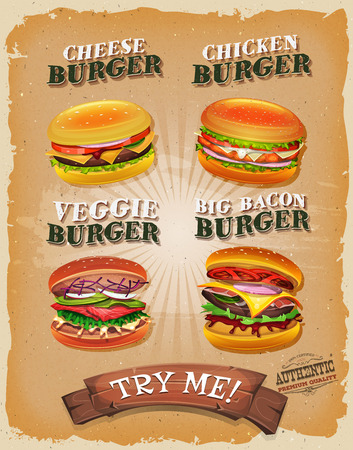alimentation: Illustration of a design vintage and grunge textured poster, with burger sandwiches, for fast food snack and takeaway menu