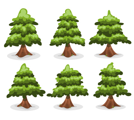 northern: Illustration of a set of cartoon forest pine trees and firs with cute design, for custom landscapes and ui games