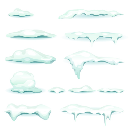 Illustration of a set of snow caps and snow drifts, isolated on white background, for winter landscapes design