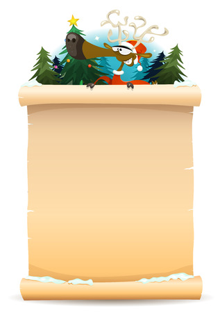 christmas backgrounds: Illustration of a cartoon happy santa reindeer character, holding parchment sign for merry christmas holidays and children gift list
