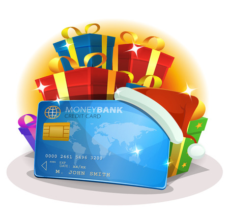 Illustration of a cartoon santa credit card with stack of presents behind, for christmas shopping