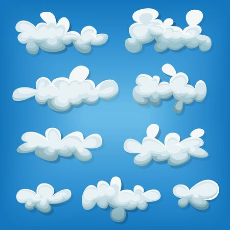 cumulonimbus: Illustration of a cartoon set of funny clouds and smoke shapes, on blue sky background