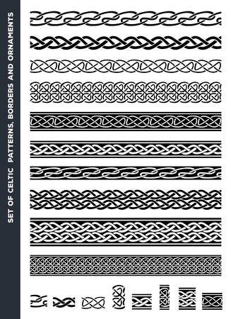 celtic: Illustration of a set of black and white celtic seamless decorations, borders and ornaments, for frame and tattoos, with separated patterns detail