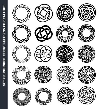 白と黒の輪と丸みを帯びたケルト パターン、タトゥーのデザインのセットのイラスト